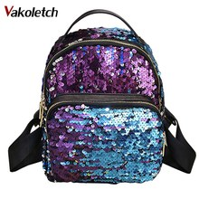 Buy Bling Bling Sequins Backpack Women School Bags PU Princess Backpack Bag All-match Small Travel Sequins Backpack mochila KL131 for $10.81 in AliExpress store