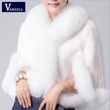 2017 New Fur Faux Coat Mink Hair Rex Rabbit Hair Cape Jacket Black White Fur Overcoat Imitation Rabbit Fur Faux Fox Collar XXXL(China)