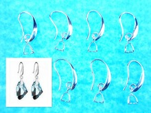 Free Ship DIY Wholesale 50X Lot Jewelry Findings 925 Silver Earring Bail Pinch Smooth Hook Ear Wires For Fine Crystal