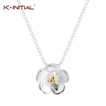 1Pcs 925 Silver Lotus Necklaces & Pendants For Women Elegant Flower Chian Necklaces Sterling Silver Jewelry Statement Bijoux
