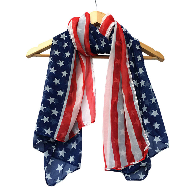 Trendy Style 150x70cm US Flag Women Girls Scarf Women Fashion Soft Silk Chiffon American Flag Scarf Scarves Gifts Wholesale(China (Mainland))