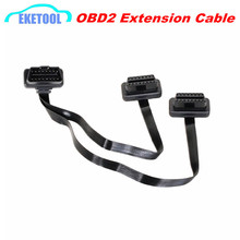 Factory Sale OBDII Extension Dual Connector Y Splitter OBD OBD2 16PIN Male to Female Connection Flat+Thin as Noodle ELM327(China)