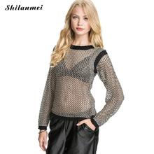 sexy women pullover black mesh sweater Female 2017 fashion Slim tops long sleeve shirt knitted shirt girls party clothing