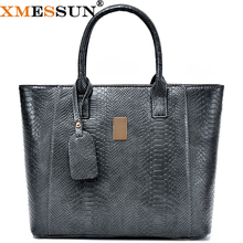 XMESSUN Brand 2 pcs/set PU Leather Tote Snake Skin Women Leather Handbags Purses Big Real Hand Bag Large Evening Bag Clutch B880