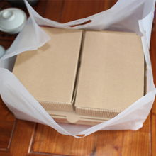 50pcs /6/8/10/12inch frosted HDPE pizza box take out packing bags, gift cake cookie biscuits box takeout with hand loop