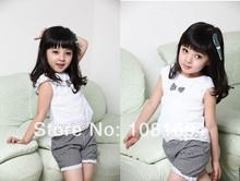Kids Clothing Set New 2017 Summer Lace Children Girl Clothes Set T Shirt And Lattice shorts Pants 2 Colors Infant Garment(China)