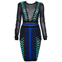 High Quality Women Fashion 2017 Runway New Arrival Blue Women Lace-up Long Sleeve Mesh Bandage Dress wholesale(China)