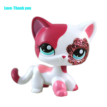 Sparkle Eyes White Red  Short Hair Cat #2291 action figure  girl's Collection classic animal pet LPS toys European kitty