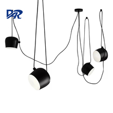 Black/White Aluminum Lampshade Snare Drum Pendant Lamp 1/2/3/4/6 Heads Led Hanging Lights Indoor Office DIY Suspension Luminaire(China)