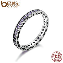 BAMOER Genuine 925 Sterling Silver Stackable Ring Purple Clear CZ Finger Rings for Women Engagement Jewelry S925 Gift PA7632(China)