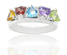 Gem ring Per jewelry Natural blue topaz,amethyst,citrine,peridot,garnet 925 sterling silver rings 0.2ct*5pcs gems #15111601