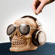 Free Shipping 1Piece Skull Coin Bank Halloween Gift Skull Money Box With Headphones & Sunglasses Skeleton Collection(China)