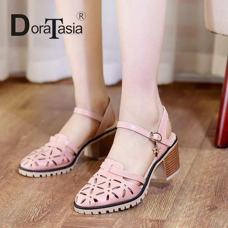 2016 womens party dating cut-outs platform chunky heels fashion ladies buckle solid sandals summer casual shoe big size 34-43<br><br>Aliexpress