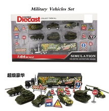 Construction Vehicles Set / Military Vehicles Set  7pcs of Vehicles and Road sign including Container's truck Free wheel vehicle