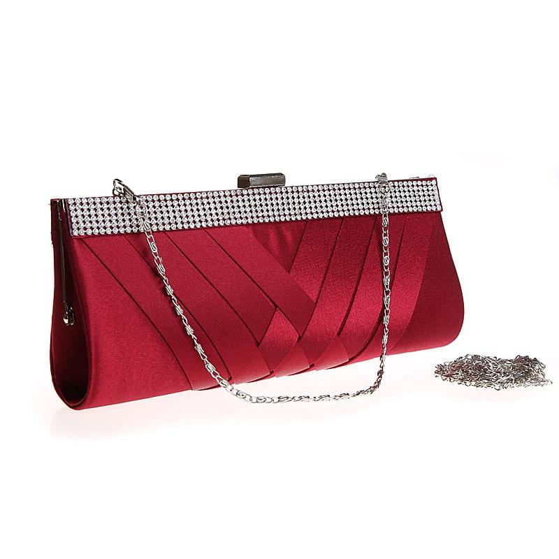 Dazzling Satin Pleated evening bag Crystal Evening Party Clutch Bag Bridal Handbag Purse women evening bags<br><br>Aliexpress