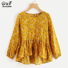 Dotfashion Calico Print Frill Dip Hem Blouse 2018 Spring Yellow Round Neck Floral Woman Top Long Sleeve Ruffle Blouse(China)