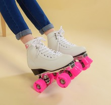 Free shipping roller skating quad roller skates with pink wheels,white shoes Aluminum alloy chassis polyurethane wheels(China)