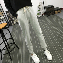 Summer New Fitness Long Pants Female Leisure Soft Trousers for Women Drawstring Solid Color Casual Harem Pants Woman M-2XL Size(China)