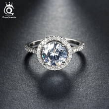 ORSA JEWELS New Arrival Luxury 1.4ct CZ Crystal Wedding Band Engagement Rings for Women Micro Paved 36pcs Austrian Zircon OR105(China)