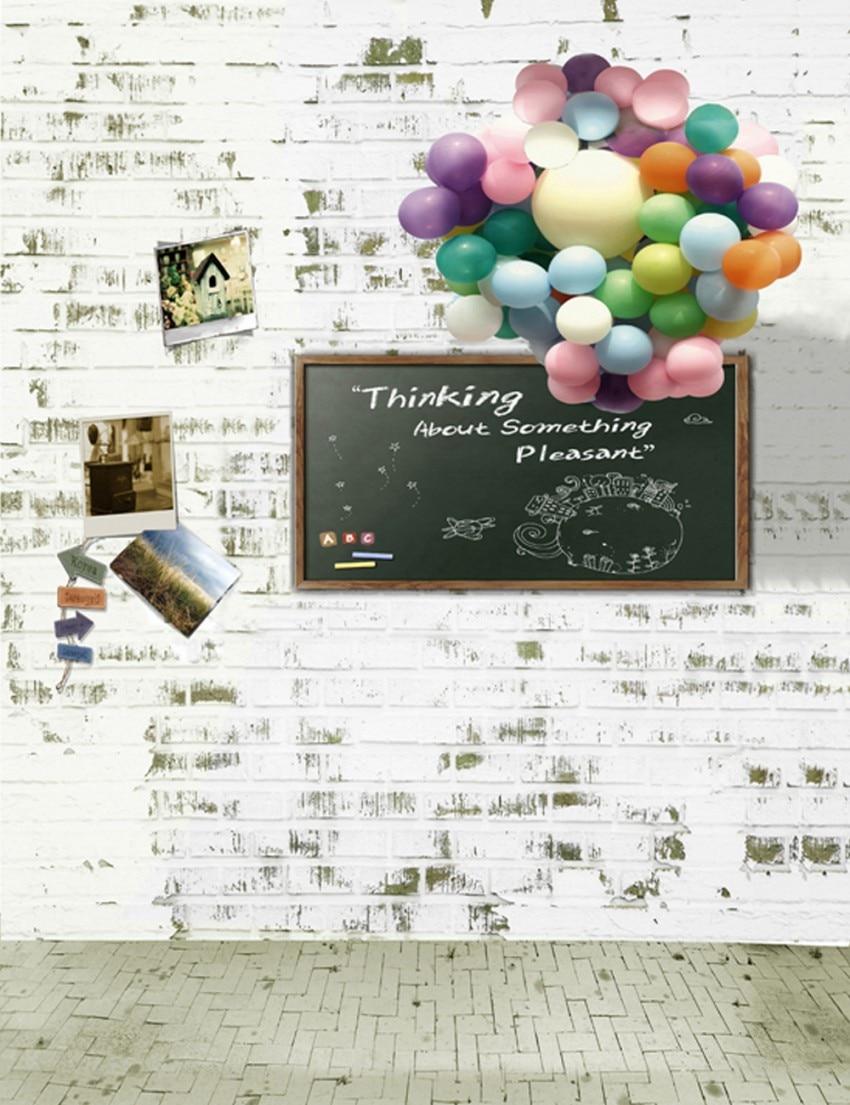 Brick Wall Vintage Children Birthday Photography Backdrops Blackboard Balloon Photo Background 150cm*200cm<br><br>Aliexpress