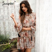 Simplee Boho print tassel chiffon summer dress Ruffle hollow out long sleeve short dress Vintage loose women dress vestidos