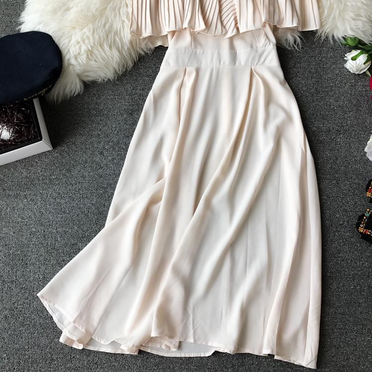 2019 Spring Women Chiffon Pleated Braces Sling Spaghetti Strap Goffer Long Dress Ladies Ruffles Empire Drapped Swing Slip Dress 201