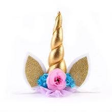 unicorn horn cat ears baby girl kids headband elastic hair head bands photo shoot accessories for children headdress decorations(China)