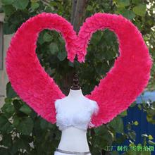 Large hart shape beautiful feather wings fit for opening ceremony Model's stage show Wedding decorations red white fairy wings(China)