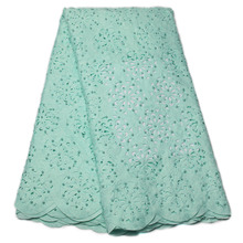 Mint Green Laser Cut Lace Fabric High Quality Laser Cut Lace With Beads And Stones African French Lace Fabrics For Lady QF829B-2