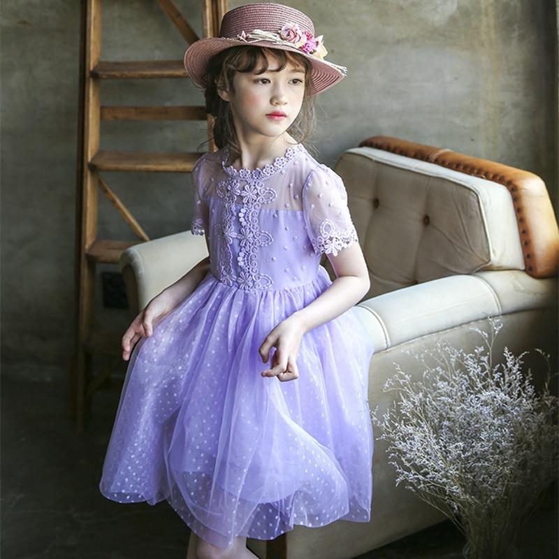 2-10Yrs Retro Mesh Short Sleeve Summer Princess Girl Lace Dot Solid White/Purple Lovely Elegant Birthday/Show/Performance Dress<br>