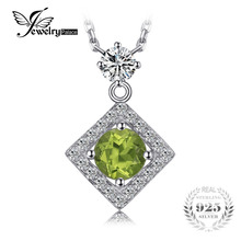 JewelryPalace High Quality 1ct Round Natural Peridot Chain Necklace Pendant For Women Charms 925 Sterling Silver Fine Jewelry(China)