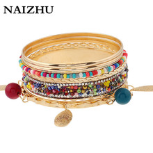 New Trend Gold Color Multilayer Luxury Shine Beads Bangle 2017 Women Bijoux Behemian Charm Bracelets Bangles Set(China)