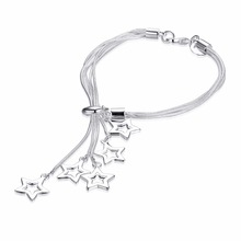 925 Sterling Silver Bracelet for Women with 3 Pieces Genuine 925 Silver Heart Charm Bracelets Party Jewelry  LKNSPCH153