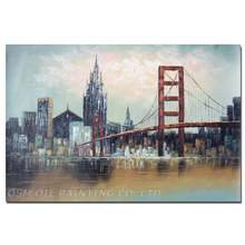Skilled Painter Hand-painted High Quality Modern Bridge and Skyscraper Oil Painting on Canvas Abstract New York Oil Painting