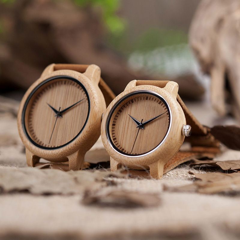 BOBO BIRD Lover Round Bamboo Wooden Wristwatch Japan Movement 35 Quartz Watch for Couple Men 43mm Dial Women 38mm Dial 7
