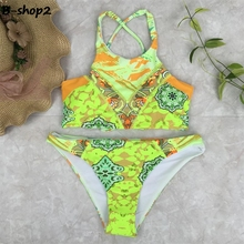 BEKOSHINE Swimwear 2017 Push Up Bikini Yellow Swimsuit High Neck Biquinis Sexy Low Waist Bikini Set Bandage Biquinis Beach wear
