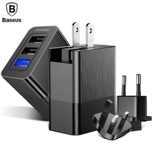 Baseus 3 Port USB Charger for iPhone X Samsung Xiaomi Charger Adapter 3-in-1 Replaceable Plug Protable Travel Wall Charger Plug(China)