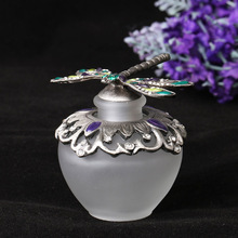 40ml Silver Dragonfly Design Diamante Retro Antique Hollow Out Glass Perfume Bottle Empty Cosmetic Container Perfume Bottle