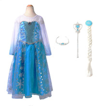 2017 Girls Princess Dresses Elsa Dress snow queen Movie Cosplay Party Dress fantasia Vestidos Anna Elsa Costumes For Children(China)