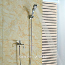 Newly Chrome Simple Shower Faucet Bathtub Faucet w/Hand Shower One Handle Tub Faucet For Cold Water