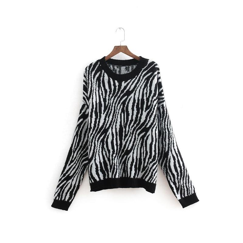 O Neck Lose Beiläufige Leopard Druck Pullover Frauen Winter Lange Hülse Strickte Jumper Herbst Weibliche Vintage Pullover Tops Großhandel