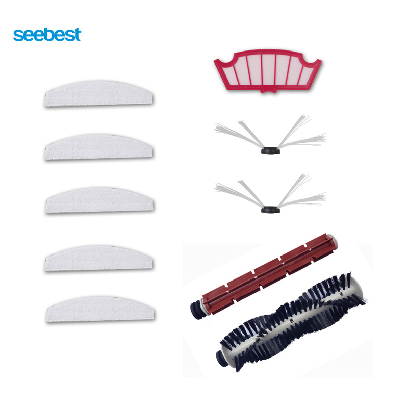 Seebest Consumption Replacement  Main Brush/Rubber Brush/Side Brush/Mop/Filter for C565/C561/C571 Robot Cleaner<br>