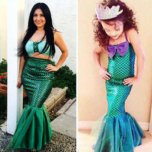 Family Match Clothes Mother and Daughter Swimming Dress Mermaid Costume Womens Kids Matching Party HALLOWEEN Cosplay Dress