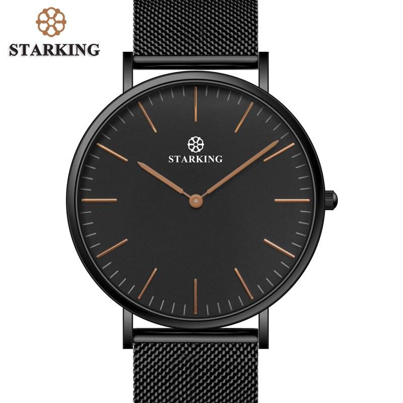 STARKING Brand Street Style 6mm Ultra-thin Simple Watch Men Quartz Fashion Full Steel Male Wrist Watches Black Mesh Strap Clock<br>