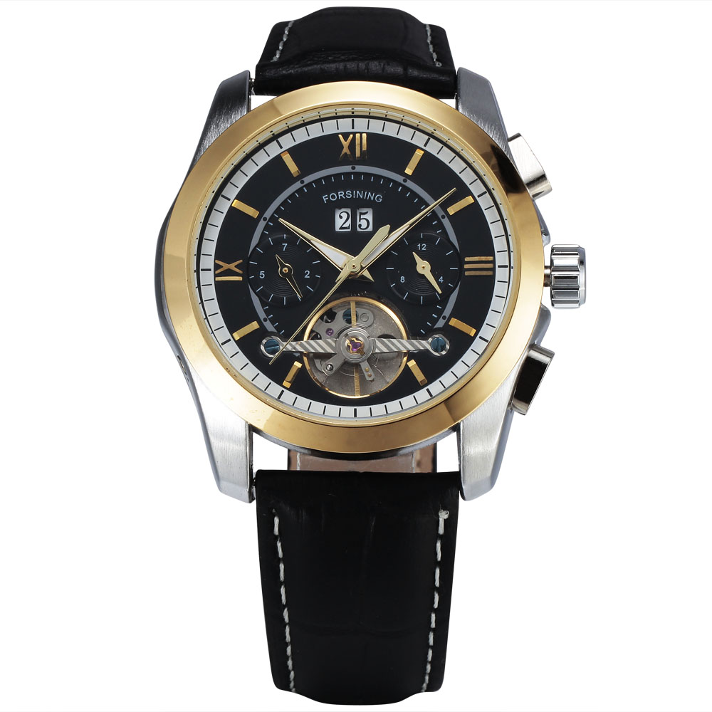2017 Top Brand Luxury Men Mechanical Wrist Watch Leather Strap Tourbillion Sub-dial Calendar Date Golden Bezel montre homme+BOX<br>