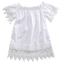 Toddler Kids Baby Girls Clothes Lace Dress White Sleeve Shoulderless Cotton Cute Summer Clothes Infant Baby Girls Party Sundress