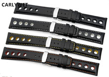 CARLYWET 20mm Man Women Real Calf Leather Handmade Black with White Orange Yellow Stitches Wrist Watch Band Strap Belt Clasp