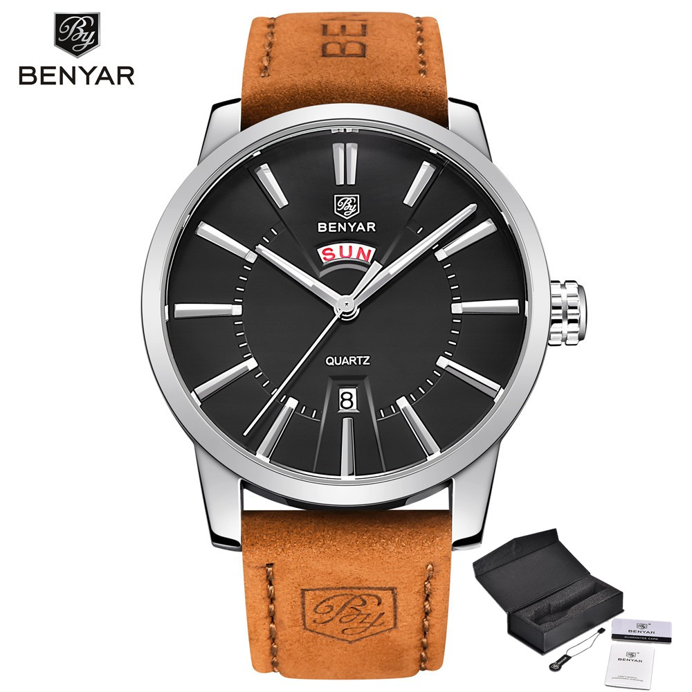 Men watches BENYAR luxury brand Calendar Fashion Quartz Watch Mens leather Waterproof  Analog Display Watch relogio masculino<br>