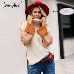 Simplee водолазкаПовседневная пуловер джемпер Лоскутная водолазка женские с длинным рукавом корейский пуловер джемпер Уличная женская одежд...