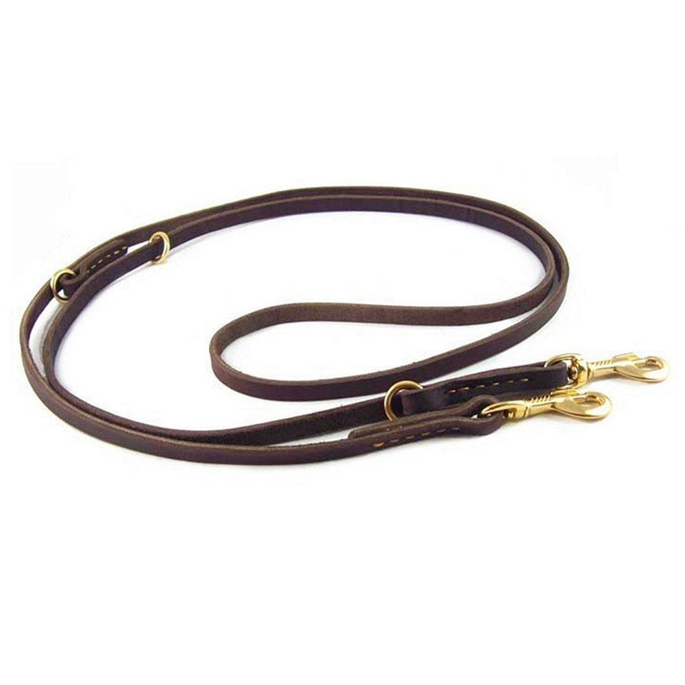 """15/"""" long by 1//2/""""wide Two Dog Coupler Small Genuine Leather Double Dog Leash"""